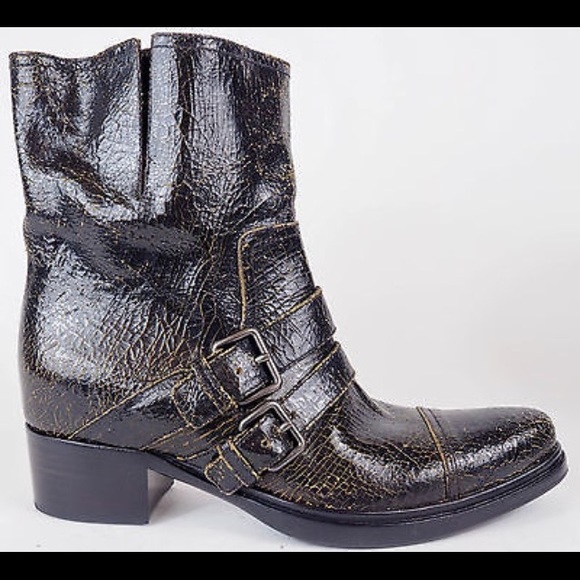 33b8ceaa29d1 Miu mui black brown baggy ankle bootie boots